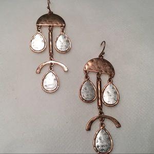 Jewelry - Two Tone Geo Face Metal Earrings